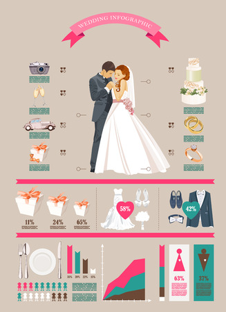 Wedding vector infographics set. Bride and groom with wedding icons in retro style . Statistical design template in vector on light background.