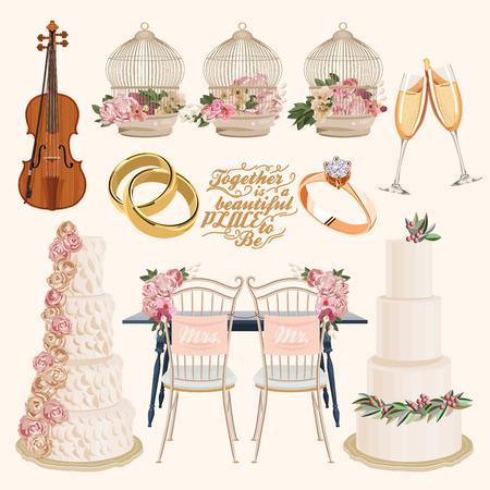 golden ring: Vector vintage set of decorative wedding elements in vintage style Illustration
