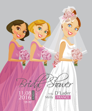 Vector illustration of cute elegant bride with Bridesmaid holding flowers. Bridal shower. Retro style