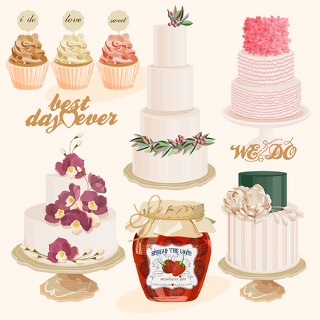 Set of vector colorful decorated layer wedding cakes and cupcakes