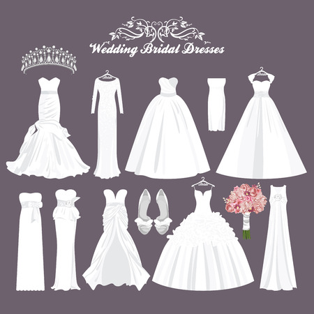 cartoon bouquet: Vector wedding dresses in different styles. Fashion bride Dress. White dress, accessories set.