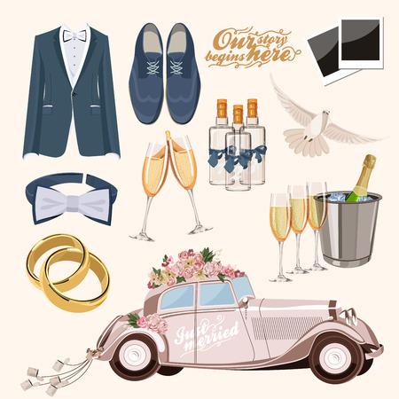 Vector vintage set of decorative wedding elements in vintage style Illustration