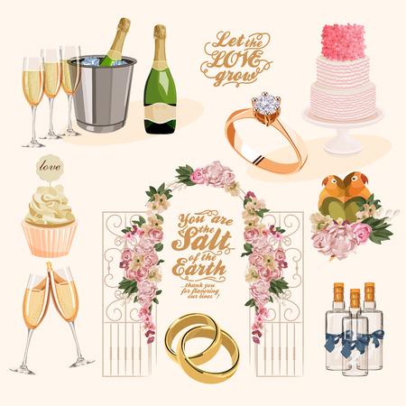 champagne glasses: Vector vintage set of decorative wedding elements in vintage style Illustration