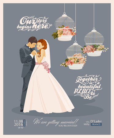 bride and groom illustration: Wedding vintage invitation card template vector with bride and groom