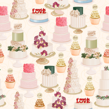 cake stand: Seamless vector pattern with different wedding cakes in vintage style on light background Illustration