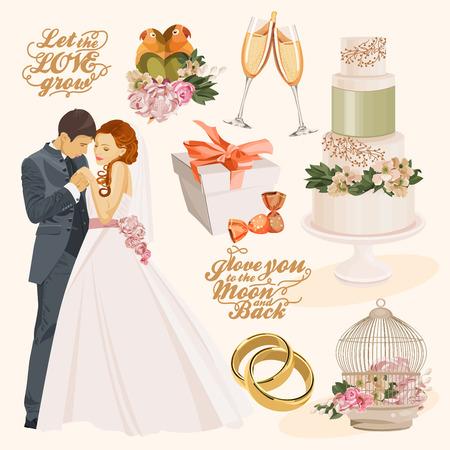 ビンテージ スタイルの結婚式の装飾的な要素のベクターのビンテージ セット