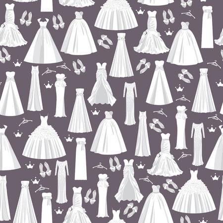 weisse kleider: Hochzeits-Muster mit wei�en Kleider f�r die Braut auf einem dunklen Hintergrund. Vector nahtlose Beschaffenheit f�r Papier, Stoff, Einladungen und anderen Drucken, Web-Projekten.