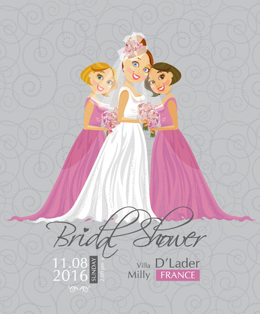 white dress: Vector illustration of cute elegant bride with Bridesmaid holding flowers. Bridal shower