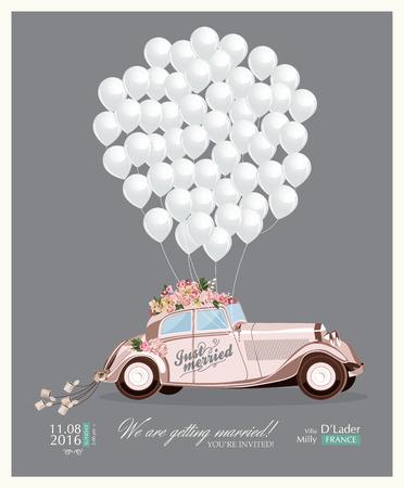 boda: Invitación de la boda de la vendimia con el coche retro acaba de casarse y globos blancos