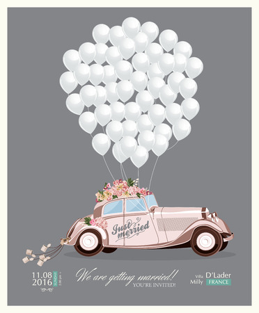 husband and wife: Vintage wedding invitation with just married retro car and white balloons