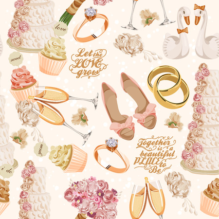Retro vector seamless pattern with wedding icons on light background for wedding invitation, paper, fabric and other printing, web projects.