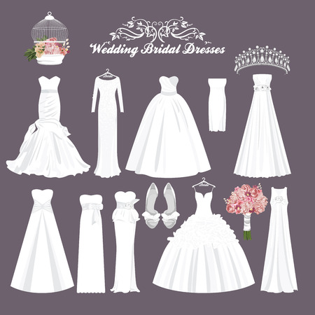 Feier: Vector Hochzeitskleider in verschiedenen Stilen. Mode Braut Kleid. Weißes Kleid, Zubehör-Set.
