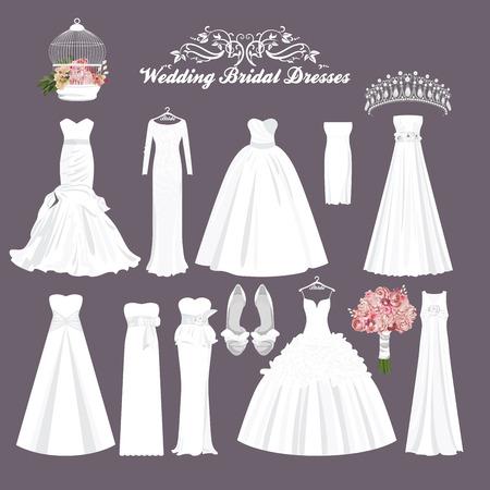 vestido blanco: Vestidos de novia vector en diferentes estilos. Novia de la manera de vestir. Vestido de blanco, accesorios fij�.