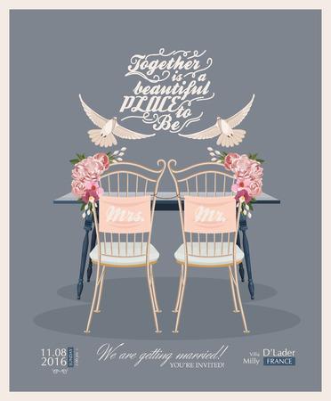 Tarjeta de invitación de la vendimia de la boda plantilla de vector Foto de archivo - 43462758