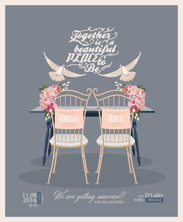 bride and groom illustration: Wedding vintage invitation card template vector
