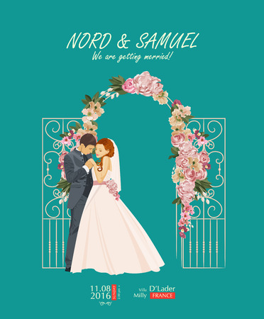 outline wedding: Wedding vintage invitation card template vector with bride and groom
