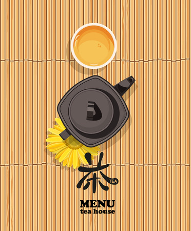 green tea leaf: Menu bamboo background with cup of chinese tea and teapot