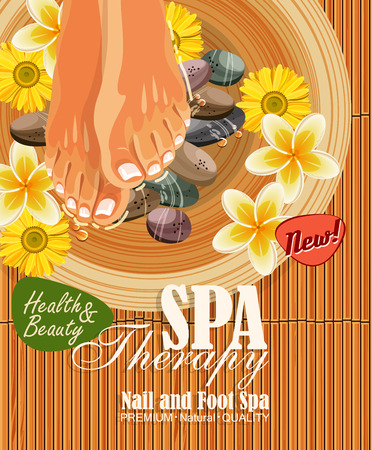Pedicure spa poster with womens legs or feet with pink nail on bamboo background