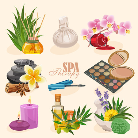 beauty skin:  set of icons spa in retro style Illustration