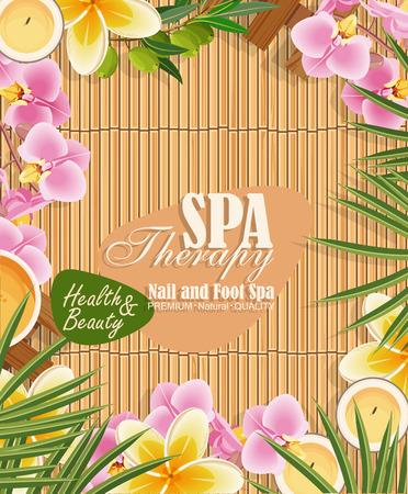 spa resort: spa background with tropical flowers