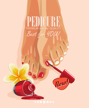 pedicure: Pedicure banner with womens feet and nail polish Illustration