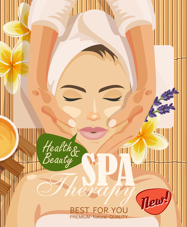 facial care: illustration woman taking facial massage treatment in the spa salon on bamboo background