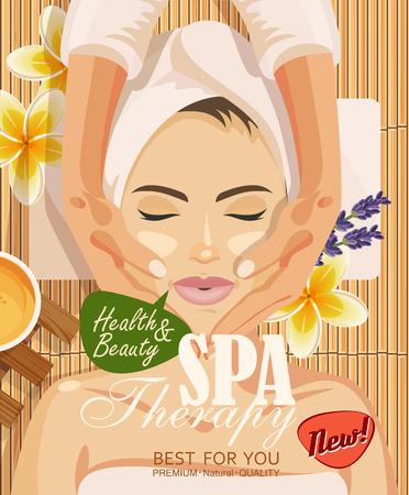 masaje facial: ilustración mujer que toma el tratamiento del masaje facial en el salón del balneario en el fondo de bambú