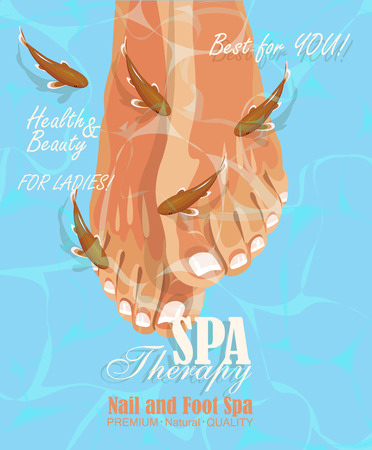 feet care: Pedicure spa poster with womans legs or feet with pink nail