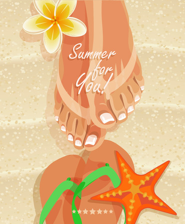 tiptoe: Summer poster with womans legs and flip-flops on sandy beach