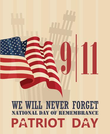 911 Patriot Day, September 11. Never Forget. National day of remembrance. Illustration