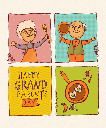 woman smiling: Happy grandparents day vector greeting card in doodle design. Happy retired couple