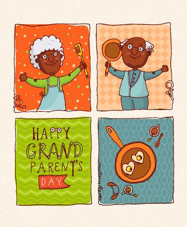 abuelos: Día de los abuelos tarjetas de felicitación vector feliz en diseño doodle. Pares felices jubilados afroamericanos