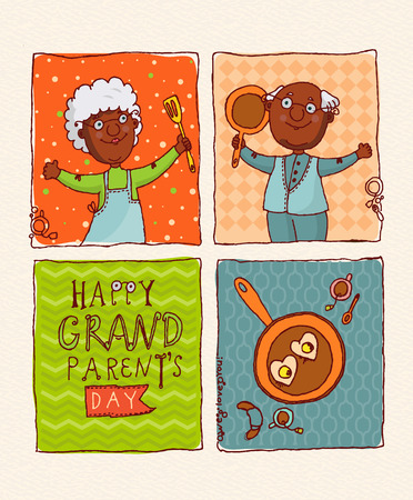 grandparents: Happy grandparents day vector greeting card in doodle design. Happy couple African American retirees