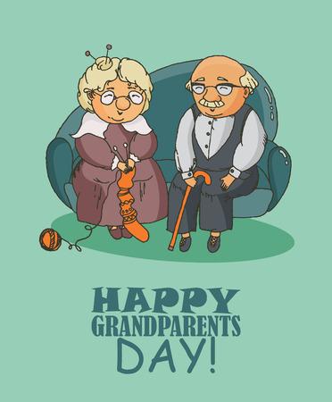 mom dad: Día de los abuelos tarjetas de felicitación vector feliz en diseño doodle. Feliz pareja se retiró