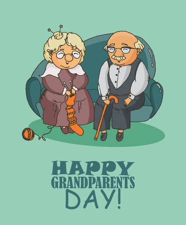 grandparents: Happy grandparents day vector greeting card in doodle design. Happy retired couple