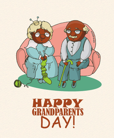 african american couple: Happy grandparents day vector greeting card in doodle design. Happy couple African American retirees