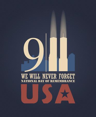 911 Patriot Día, 11 de septiembre nunca olvidará. Día nacional de la memoria. Ilustración de vector