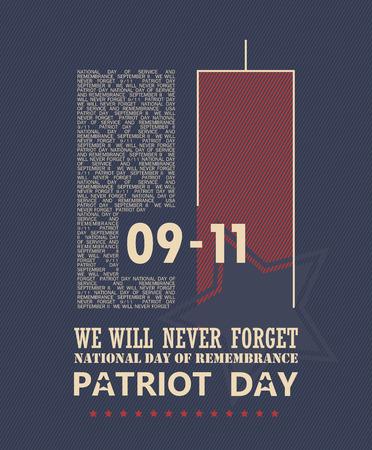 gemelas: 911 Patriot Día, 11 de septiembre nunca olvidará. Día nacional de la memoria.