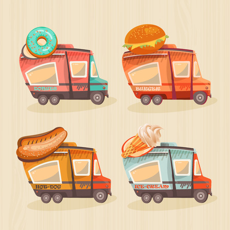 wagon: Street food van in retro style. Fast food delivery. Fast food trailers. Hot dog, ice-cream, donuts, burger shop on wheels