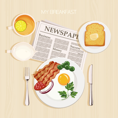 english: Breakfast set with tea, lemon, milk, bacon and eggs, parsley, toast, butter and newspaper. Top view.