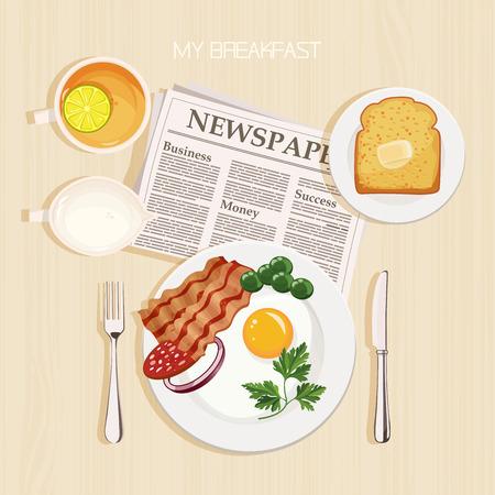 desayuno: Conjunto del desayuno con té, limón, leche, tocino y huevos, perejil, tostadas, mantequilla y periódico. Vista superior.