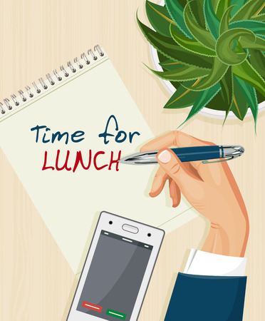 short break: Office desk with notebook, eyeglasses, coffee and laptop. Top view. Business lunch. Coffee break.