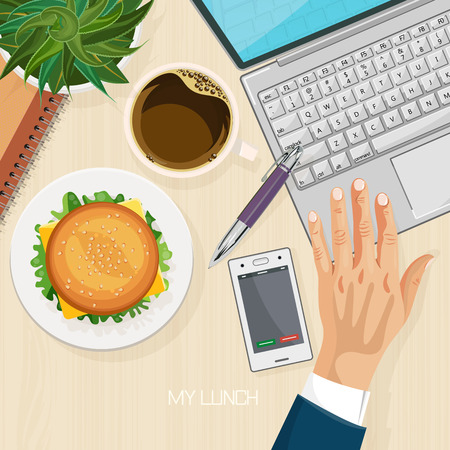Office desk with computer, burger, coffee and laptop. Top view. Business lunch. Coffee break. Illustration