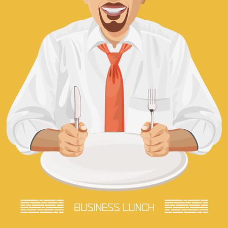 almuerzo: Almuerzo de trabajo empleado de oficina de negocios con el plato, cuchillo, tenedor