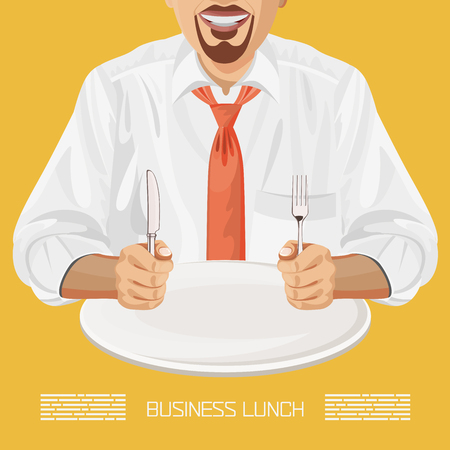 Business lunch office worker businessman with plate, knife, fork Illustration