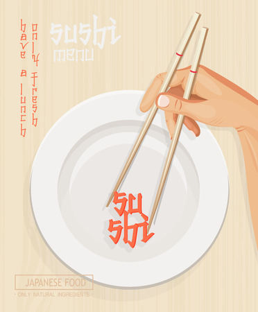 sushi chopsticks: Japanese cuisine restaurant sushi menu cover in light design Illustration