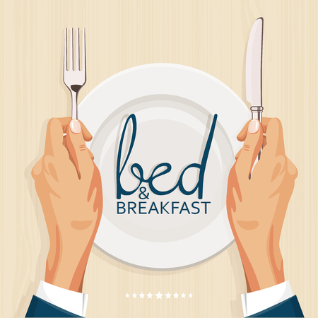 breakfast in bed: Bed and breakfast menu cover template Illustration