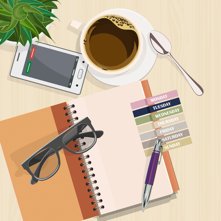 Office desk with notebook, eyeglasses, coffee and laptop. Top view. Business lunch Illustration