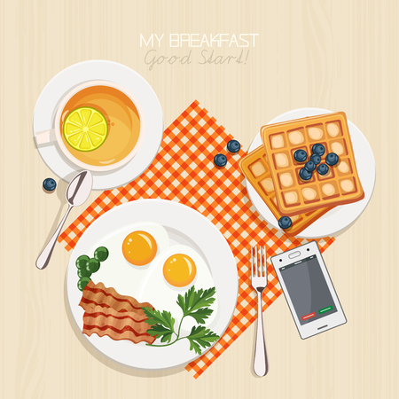Breakfast set with tea, lemon, belgian waffles, bacon and eggs, parsley, green beans. Top view. Mealtime. Illustration