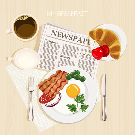 Breakfast set with bacon and eggs, parsley, green beans, cherry, coffee, milk, french croissant and newspaper. Top view. Mealtime.
